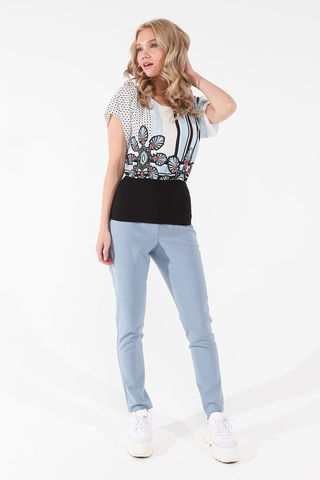 Фото голубые зауженные брюки длиной до щиколотки - Брюки А505-573 (1)