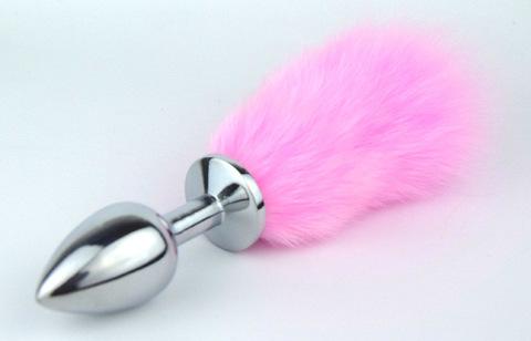 Пробка металлическая с розовым хвостиком размер S 47160-MM