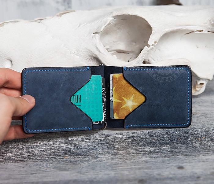 WB108-5 Зажим для денег из натуральной кожи джинсового цвета. «Boroda Design» фото 04