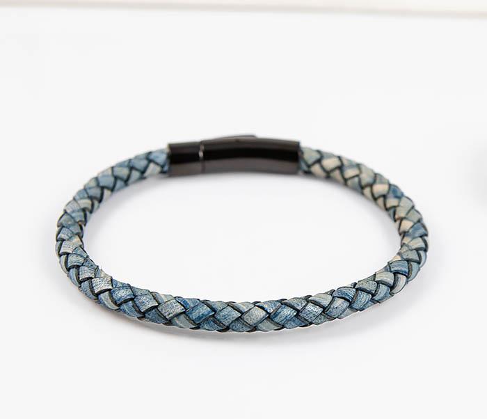 BM517-4 Браслет шнур из натуральной кожи голубого цвета фото 04