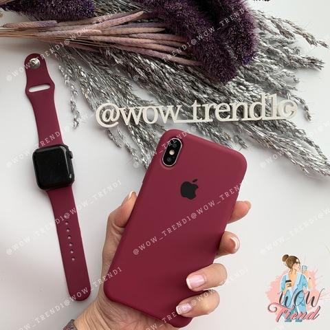 Чехол iPhone X/XS Silicone Case /marsala/ марсал 1:1