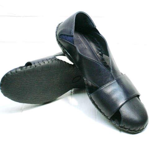 Мужские босоножки с закрытым носком и пяткой. Летние мокасины сандалии мужские кожаные. Летние туфли босоножки синие LucianoBellini-Blue.
