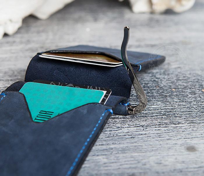 WB108-5 Зажим для денег из натуральной кожи джинсового цвета. «Boroda Design» фото 06