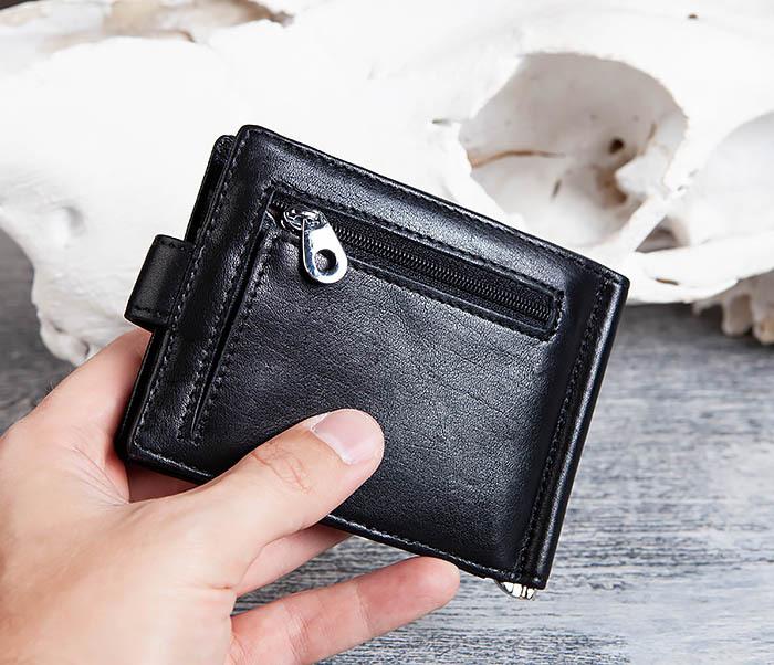 WL308-1 Мужской зажим для денег из черной кожи фото 12