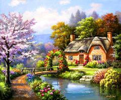 Картина раскраска по номерам 40x50 деревенский домик у реки