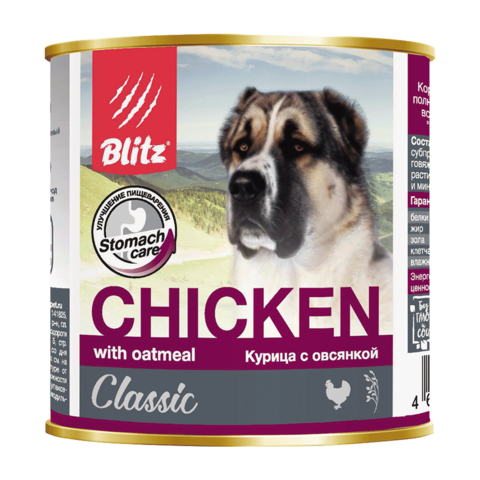 Blitz Консервы для собак с курицей и овсянкой