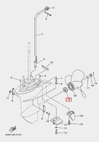 Опорная шайба винта для лодочного мотора F20 Sea-PRO (24-16)