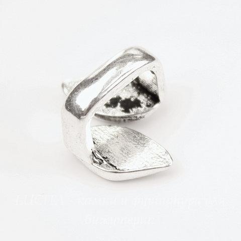 """Бусина металлическая (для шнура 11х7 мм) """"Листочки"""" 18х15х11 мм (цвет - античное серебро)"""