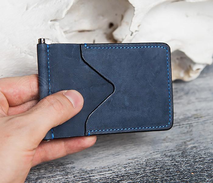 WB108-5 Зажим для денег из натуральной кожи джинсового цвета. «Boroda Design» фото 10