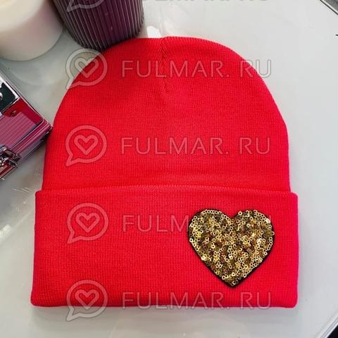 Шапка для девочки Красная с сердцем из пайеток