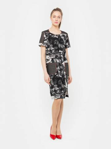 Фото черное платье с цветочным принтом и контрастной отстрочкой - Платье З166-452 (1)