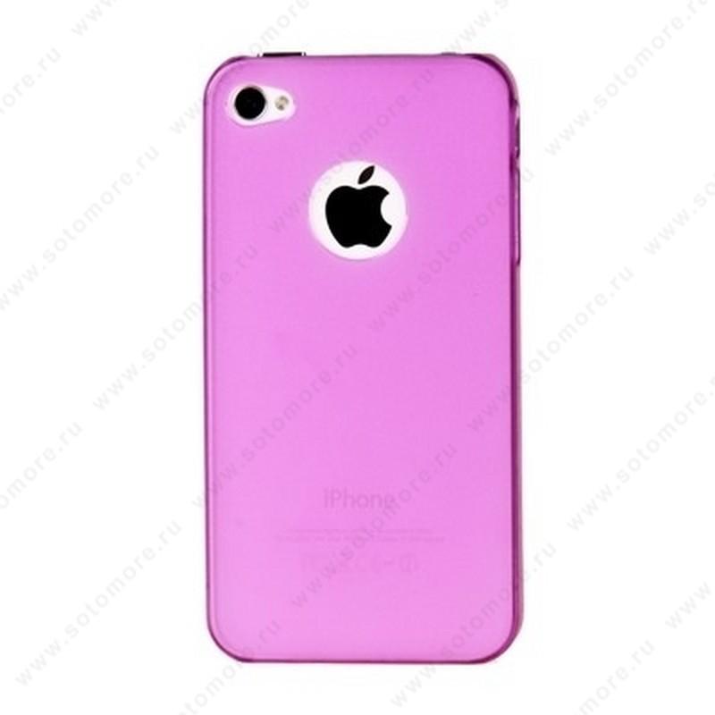 Накладка пластиковая для iPhone 4s/ 4 розовая Thin to the Extreme