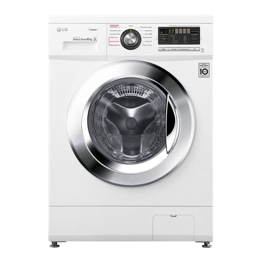 Узкая стиральная машина LG с функцией пара Steam F1296NDS3 фото