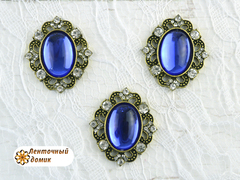 Камни овалы в оправе старое золото зеркальные синие