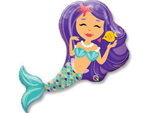 Фольгированный шар Русалка фиолетовые волосы