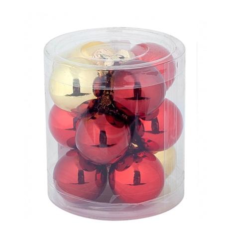 Набор шаров 15шт. (стекло), D6см,  цвет: красно-золотой микс