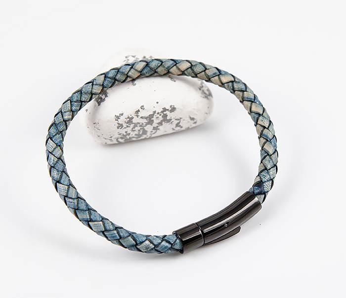 BM517-4 Браслет шнур из натуральной кожи голубого цвета фото 05