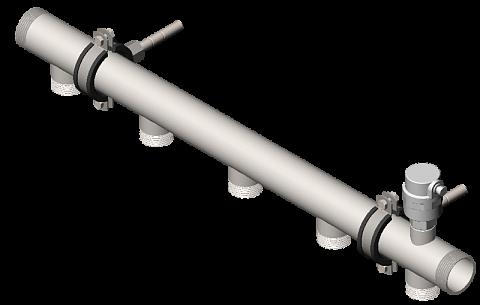Распределительный коллектор из нержавеющей стали DMSS-32-25x5 (вход G 1¼˝, транзитный выход G 1¼˝, 5 выходов G 1˝)