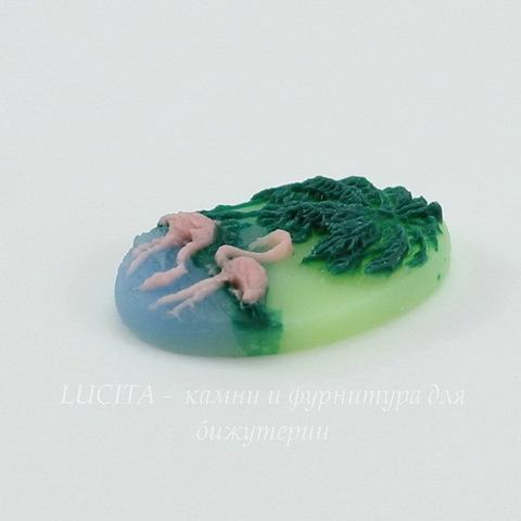"""Камея """"Фламинго"""" на зеленом фоне 18х13 мм ()"""