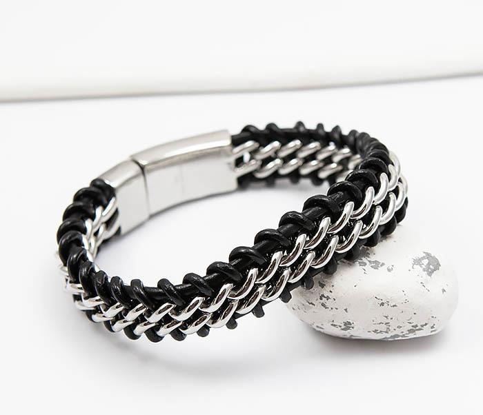 BM500-1 Массивный браслет из стали и кожаного шнура (21,5 см) фото 06