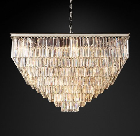 Подвесной светильник копия 1920S Odeon Clear Glass Fringe Square 7-Tier Chandelier by Restoration Hardware