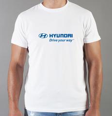 Футболка с принтом Хендай (Hyundai) белая 004