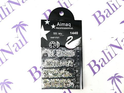 Стразы Aimaq PROFESSIONAL (голограф.) MIX, 1440 шт с подложкой