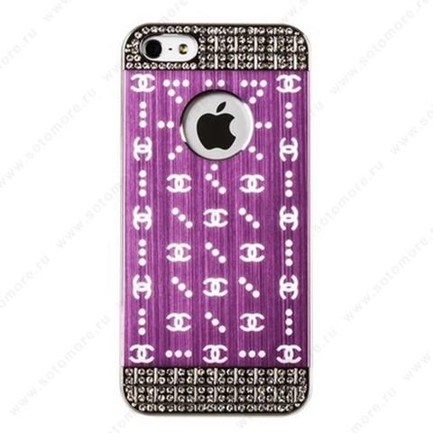 Накладка CHANEL металлическая для iPhone SE/ 5s/ 5C/ 5 серебро светло-розовая