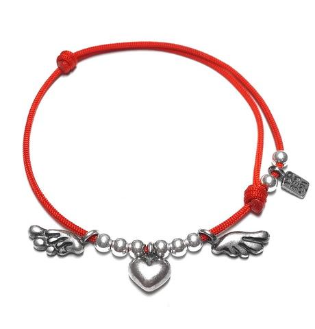 Winged heart bracelet, sterling silver