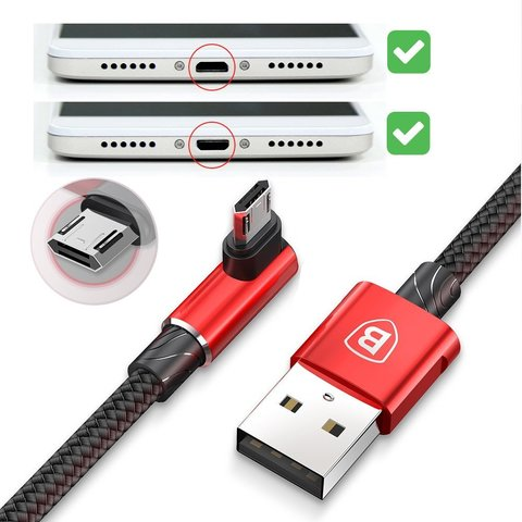 Кабель Baseus MVP Elbow Type Cable USB For Micro 1.5A 2M Red