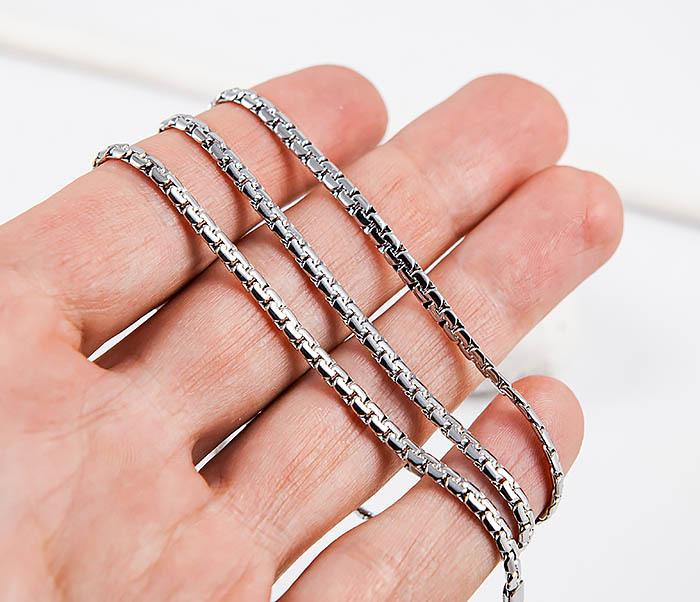 SSNH-0311-03 Плоская стальная цепочка «Spikes» оригинального плетения (55 см) фото 06
