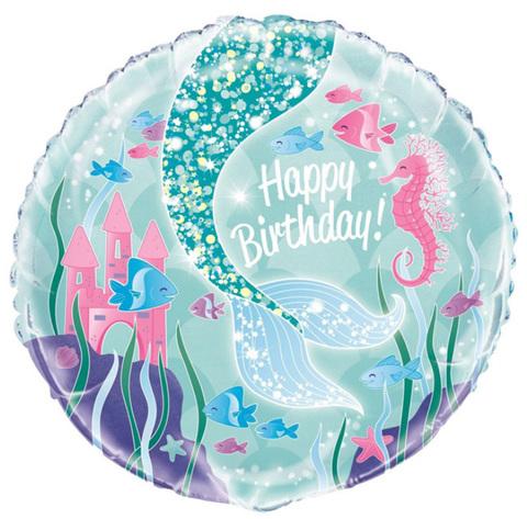 Шар круг С днём рождения, хвост русалочки, голубой,  45 см