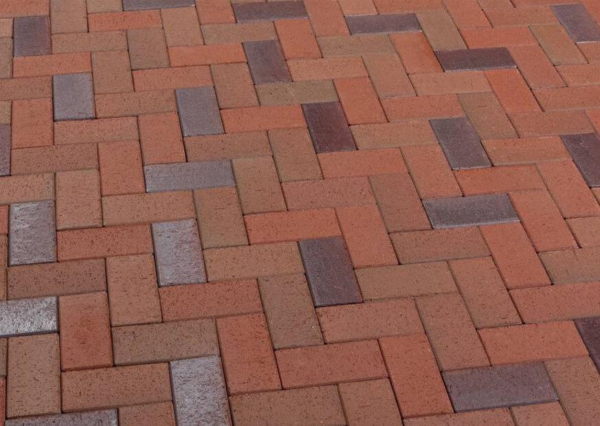 Feldhaus Klinker - P405KF, Gala alea, красный пестрый, с фиолетовым нагаром, с оттенками, 200x100x45 - Клинкерная тротуарная брусчатка