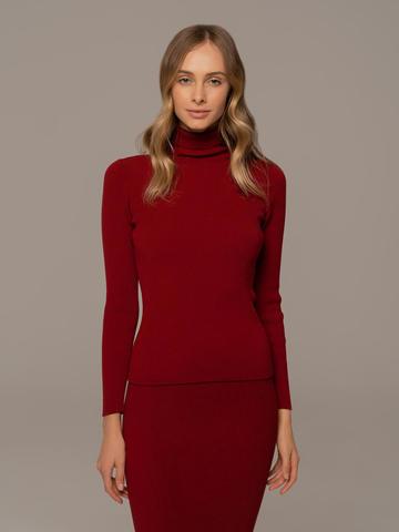 Женский свитер красного цвета из 100% шерсти - фото 2