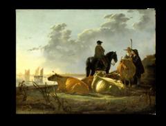 """Репродукция """" Альберт Кейп - Пейзаж со стадом, всадником и пастухами"""""""