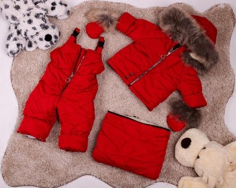 Зимний комбинезон тройка для новорожденных 0-2 года Look Gold с натуральным мехом Пушок красный