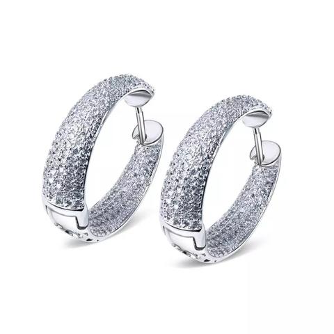 Серьги кольца из серебра с микроцирконами в стиле Grisogono