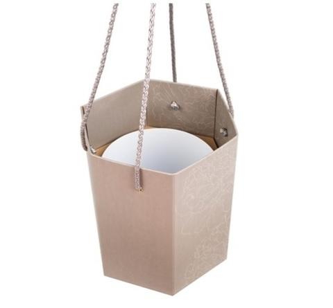 Коробка-ваза с пластиковой вставкой 20х20х22см Цвет:графит