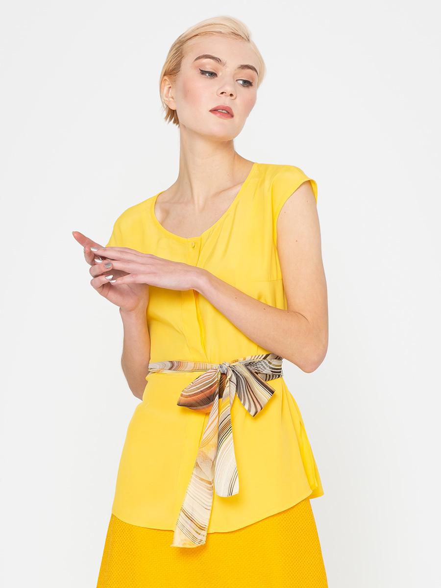 Блуза Г548-161 - Блуза оригинального кроя со спущенной линией плеча. В боковой шов и в центр передней полочки вшит контрастный пояс, который можно завязывать либо с одной стороны, либо обернуть вокруг талии.