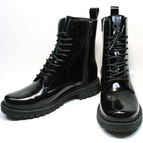 Женские зимние ботинки мартинсы. Кожаные ботинки женские зимние на шнуровке Ari Andano All Black