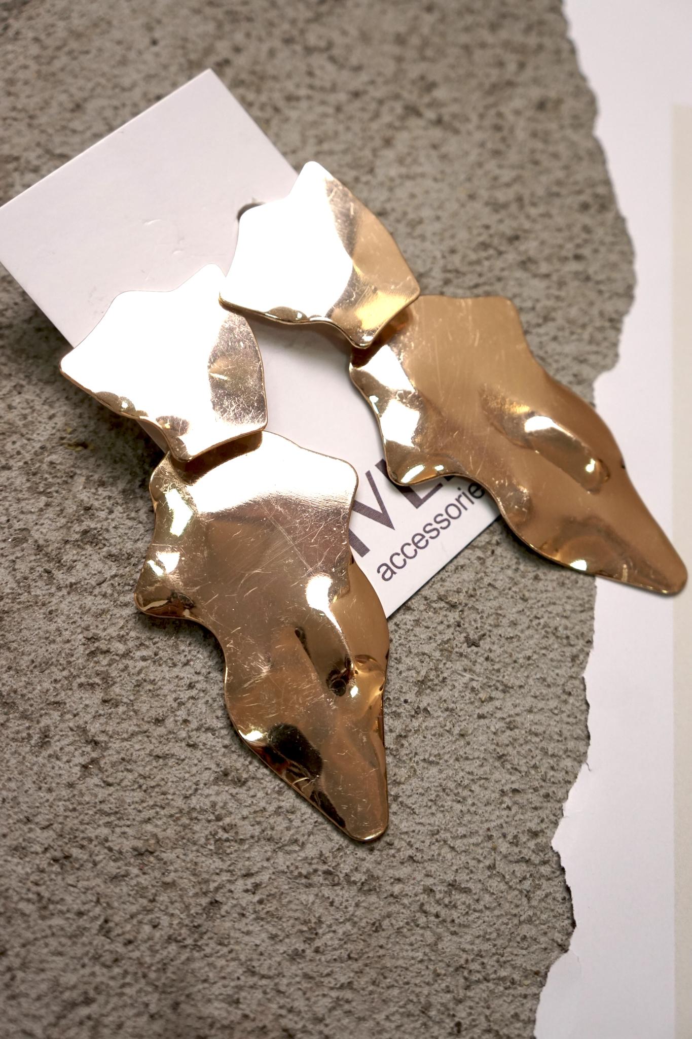 Серьги золотые фигуры ассиметричные 9 см  два яруса на гвоздике