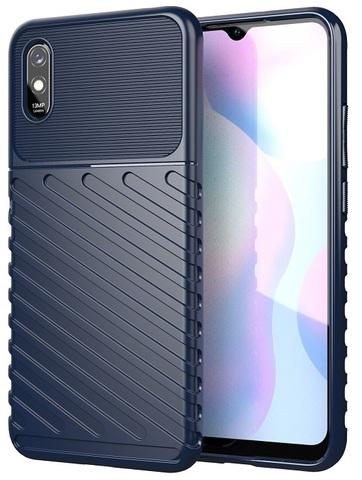 Чехол накладка противоударный на Xiaomi Redmi 9a темно-синего цвета, серия Onyx от Caseport