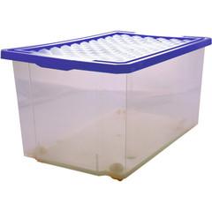 Ящик для хранения Optima 57л на роликах, синий, с крышкой