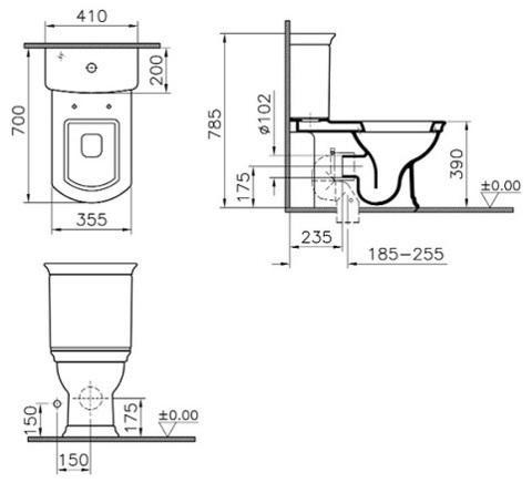 Унитаз напольный с бачком Vitra Serenada деревянное сиденье и механизм смыва Geberit  9722B003-7204 схема