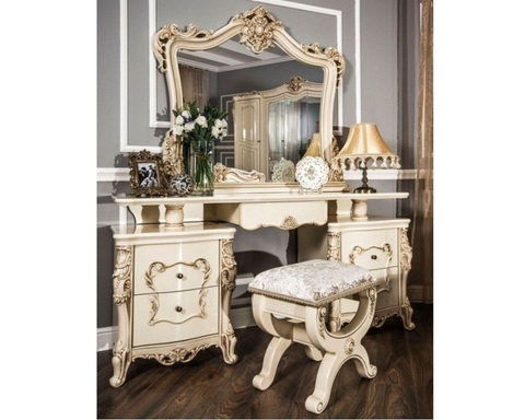 Стол туалетный  ДЖОКОНДА с пуфом и зеркалом крем глянец