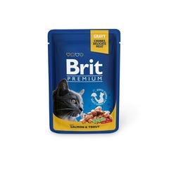 """Пауч для кошек, Brit Premium, """"Лосось и форель"""""""