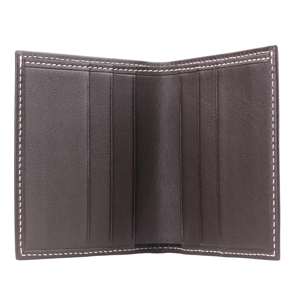 Портмоне-кошелек Carre Bicolor из натуральной кожи теленка, темно-коричневого цвета