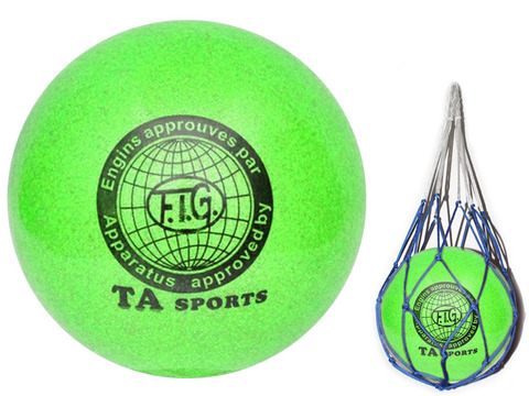 Мяч для художественной гимнастики. Диаметр 15 см. Цвет зелёный с добавлением глиттера. К мячу прилагается сетка для переноски. :(Т12):