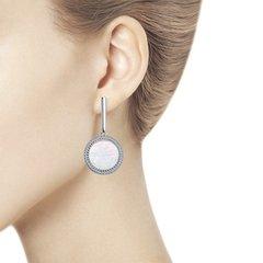 94023581 - Серьги из серебра с перламутром и фианитами