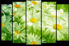 """Модульная картина """"Ромашки в зеленых тонах"""""""